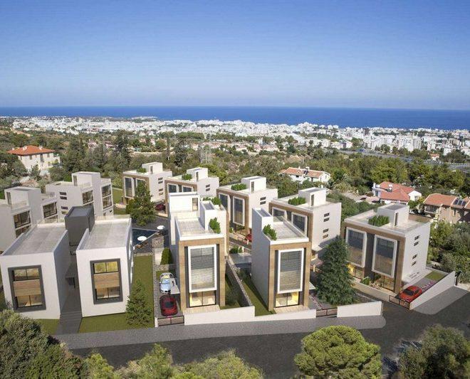 Многоквартирные и отдельные виллы, в пяти минутах езды от Кирении на Северном Кипре.