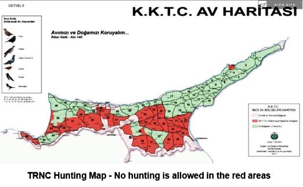 Карта мест для охоты на Северном Кипре